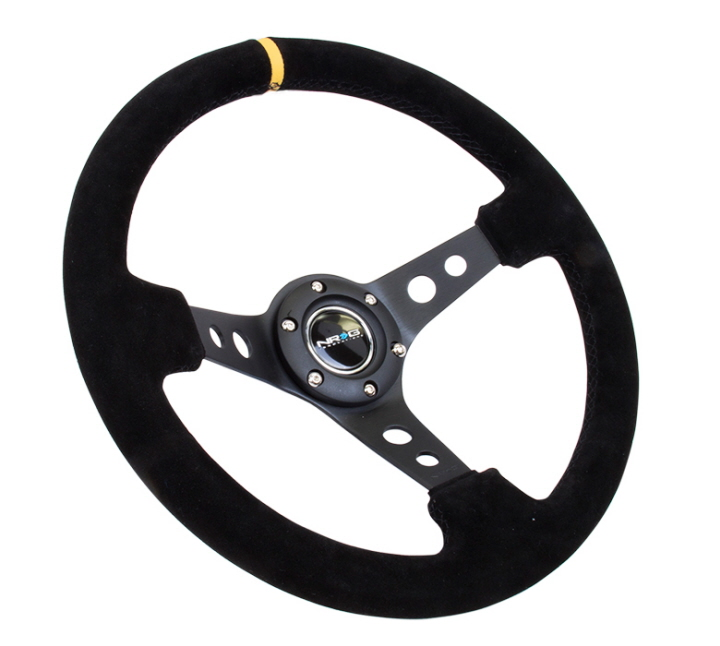 NRG ST-006S-Y Steering Wheel Black Suede Yellow Stripe
