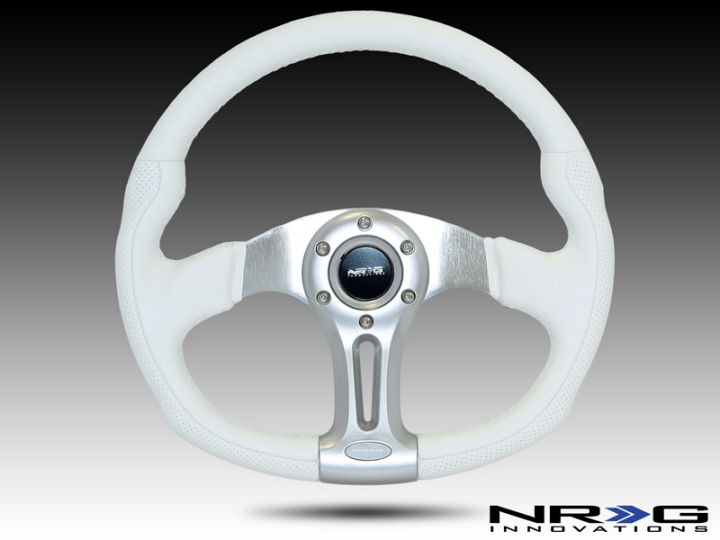Nrg 350mm Sport White Leather With White Stitching