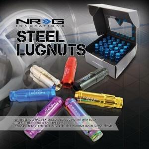 NEW NRG STEEL LUG NUT 500 SERIES BULLET SHAPED ENDS 12X1.5 BLACK HONDA ACURA